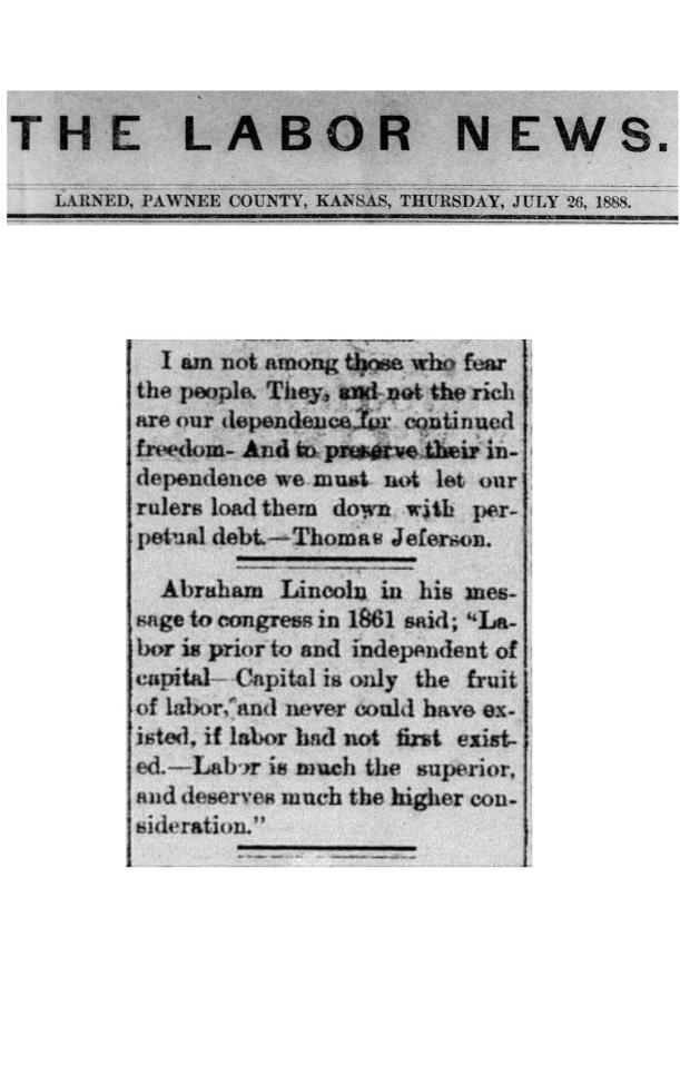 The Labor News, July 26, 1888