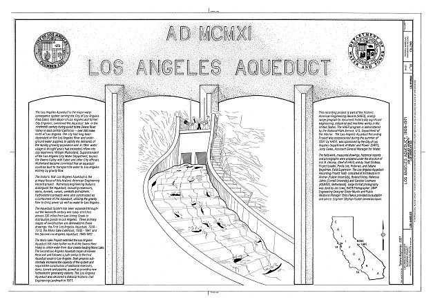 Pencil illustration of future aqueduct with two columns of text, one on either side of the sketch.
