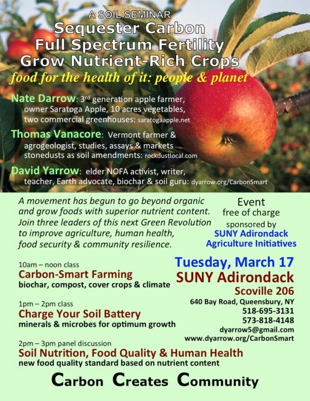Flyer with apple advertising a series of events on carbon sequestration soil practices