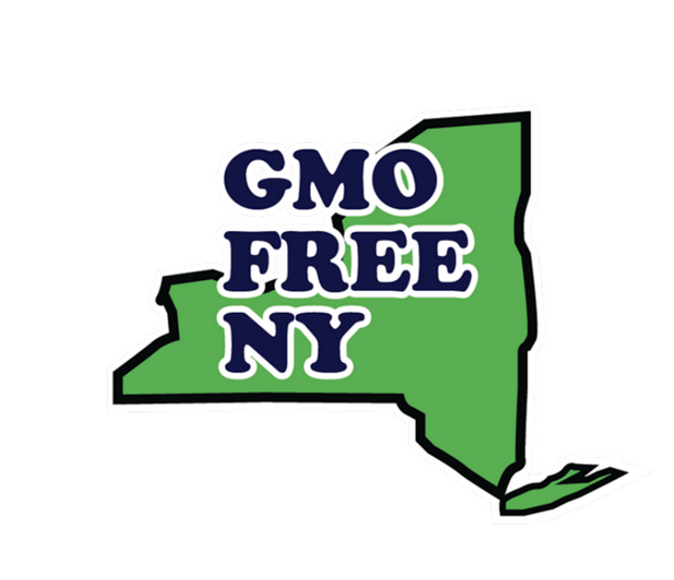 "Logo with green state of New York shape and ""GMO Free NY"" text on top of the image"