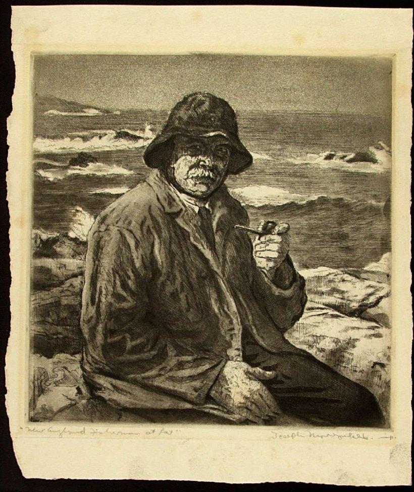 'New_England_Fisherman_at_Rest',_black_ink_etching_by_Joseph_Margulies